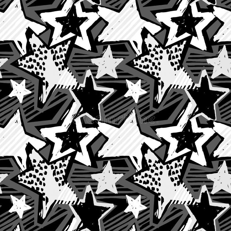Gwiazda kształtów graffiti ręki bezszwowego rzemiosła atramentu ekspresyjny modniś royalty ilustracja