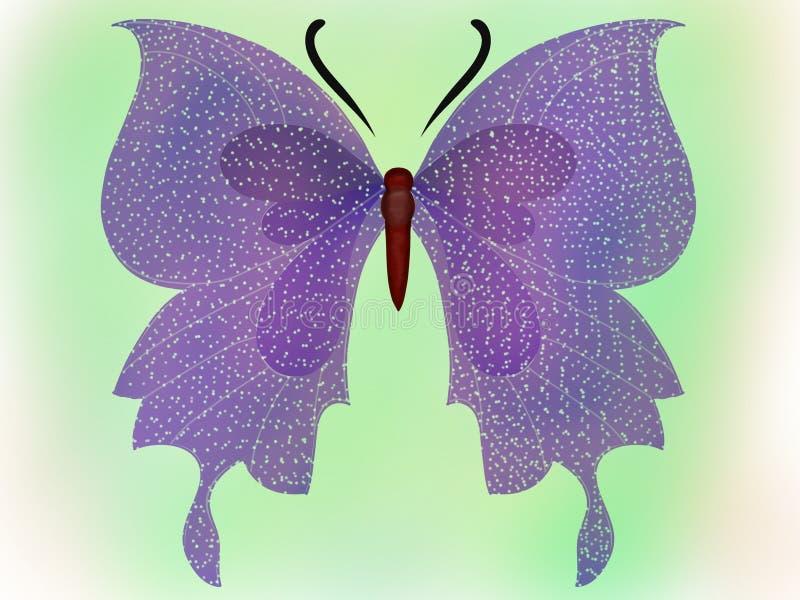 Gwiazda oskrzydlony motyl na zielonym tle ilustracji