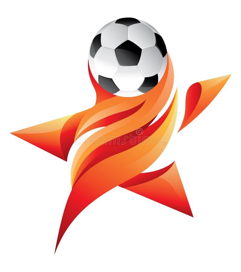 Gwiazda piłki nożnej logo z płomiennym ogieniem ilustracja wektor