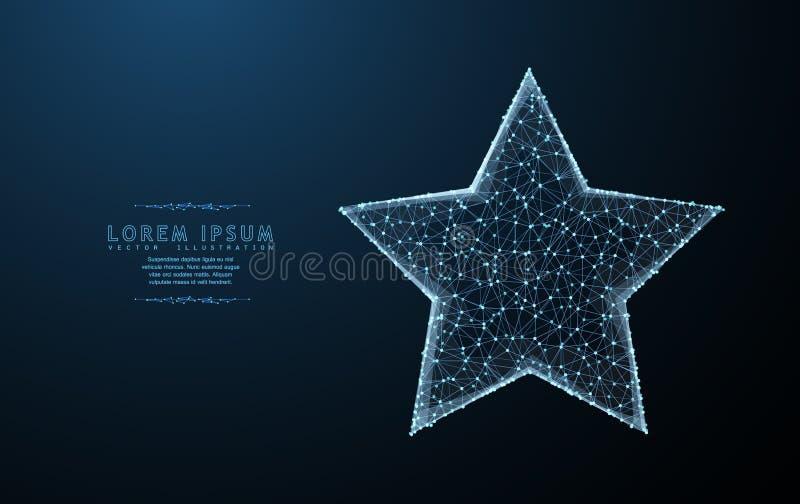 gwiazda Poligonalna wireframe siatki sztuka z pokruszonymi krawędzi spojrzeniami jak gwiazdozbiór Ilustracja lub tło ilustracja wektor