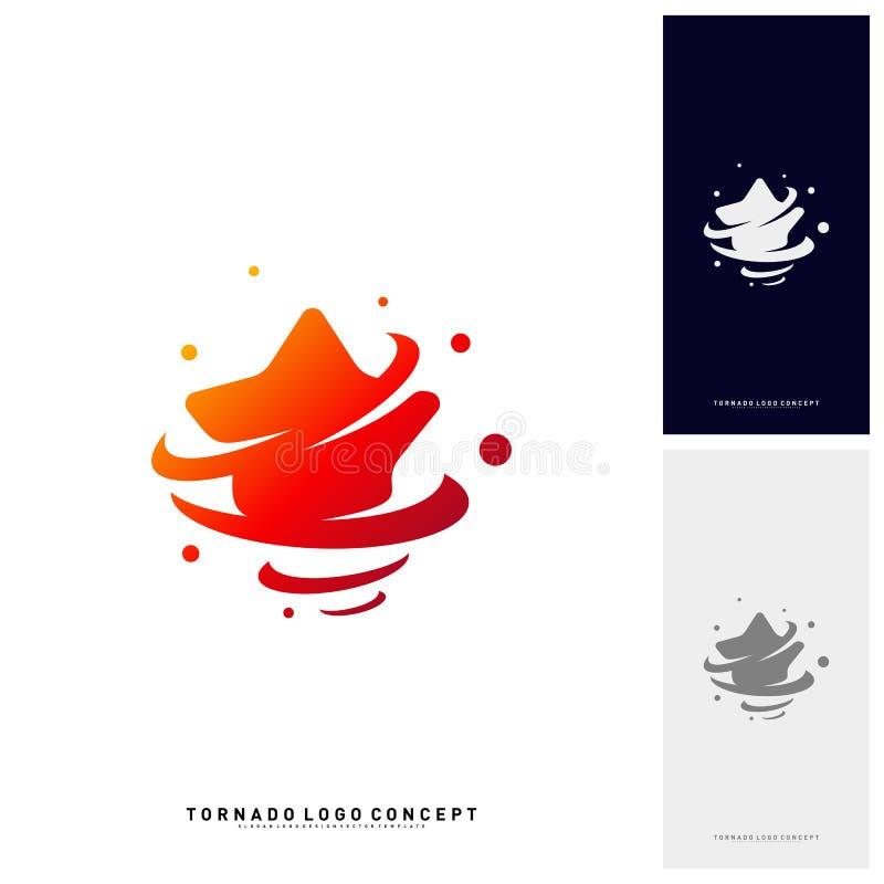 Gwiazda skręta logo projekta pojęcia wektor Burza Gra główna rolę logo wektoru ikonę Tornado Gra główna rolę logo szablon royalty ilustracja