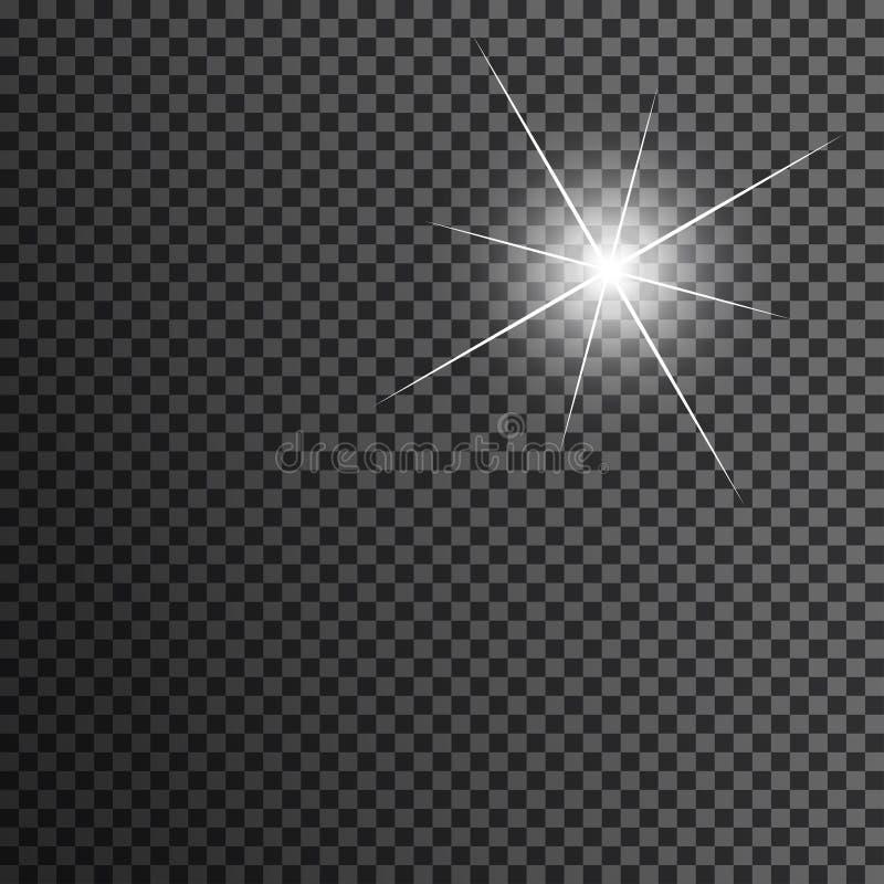 Gwiazda w bielu na przejrzystym czarnym tle Słońce raca z promieniami i uwagą ilustracja wektor