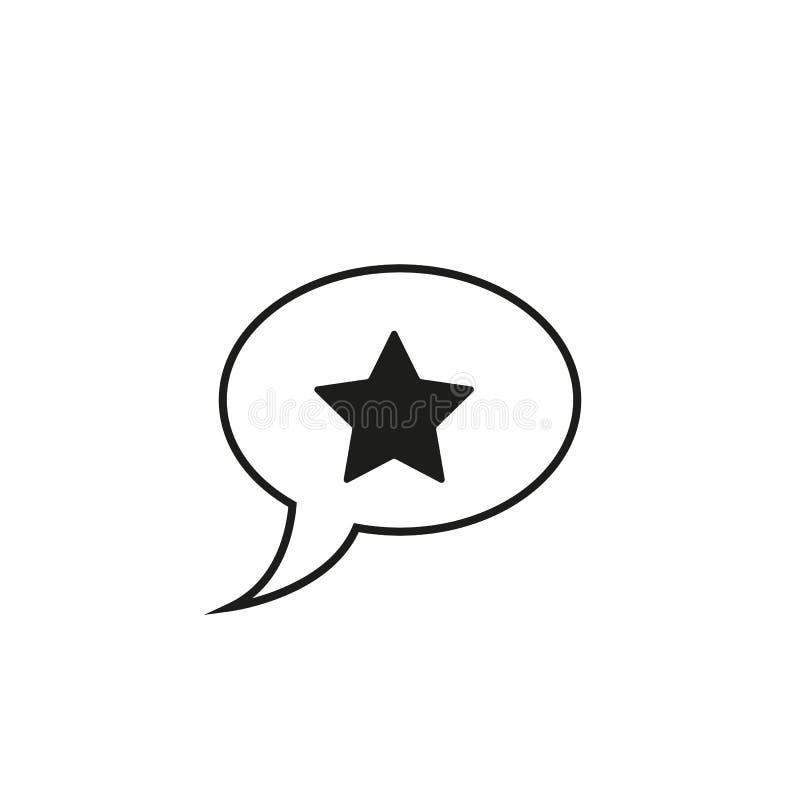Gwiazda w mowa bąbla ikonie liniowy stylu znak dla mobilnego pojęcia i sieć projekta Wiadomość oszacowywa prostą kreskową wektoro ilustracji