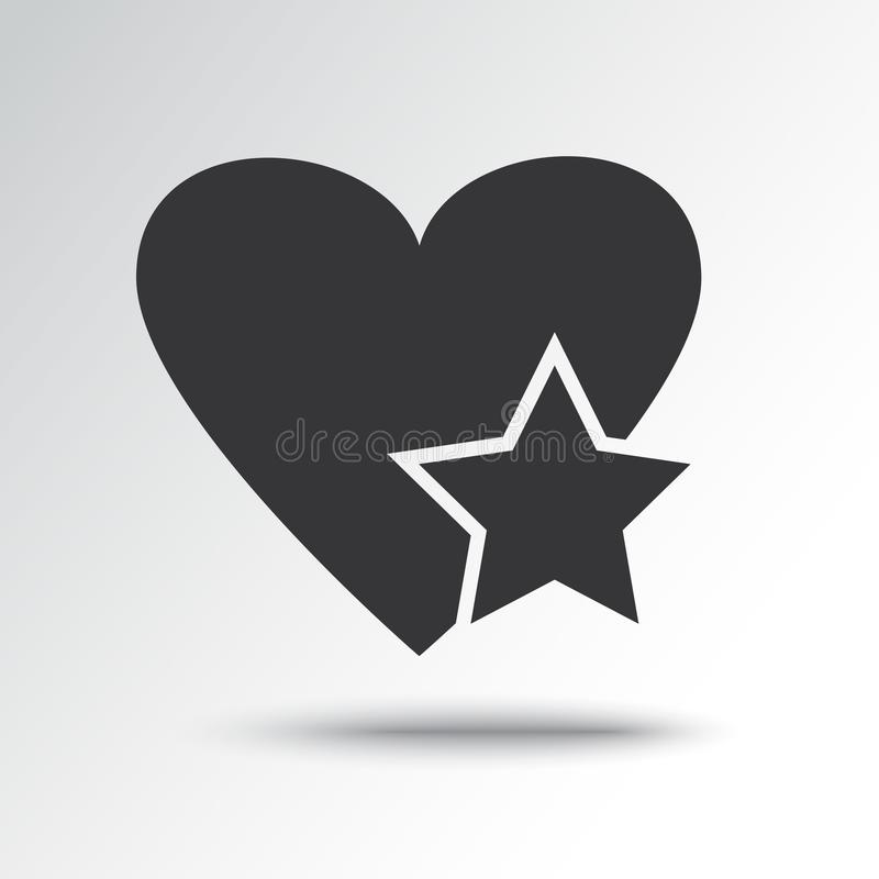 Gwiazda w sercu, czarna ikona r?wnie? zwr?ci? corel ilustracji wektora royalty ilustracja