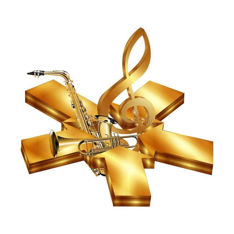 Gwiazda złote strzała z saksofonem i trąbką royalty ilustracja