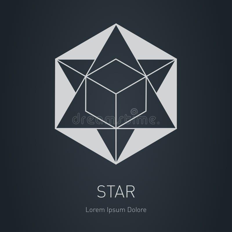 Gwiazda z sześcianem wśrodku elementy projektu podobieństwo ilustracyjny wektora Nowożytny elegancki logo Wektorowy niski poli- l ilustracja wektor