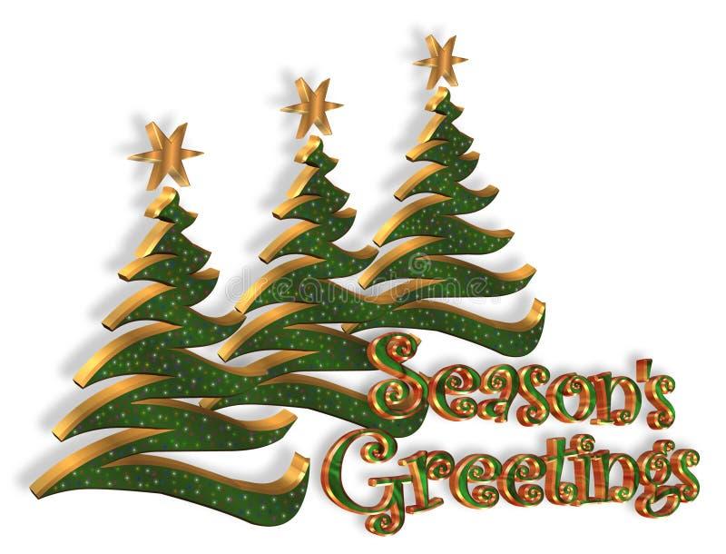 gwiazdkę sezonów powitań drzewa ilustracja wektor