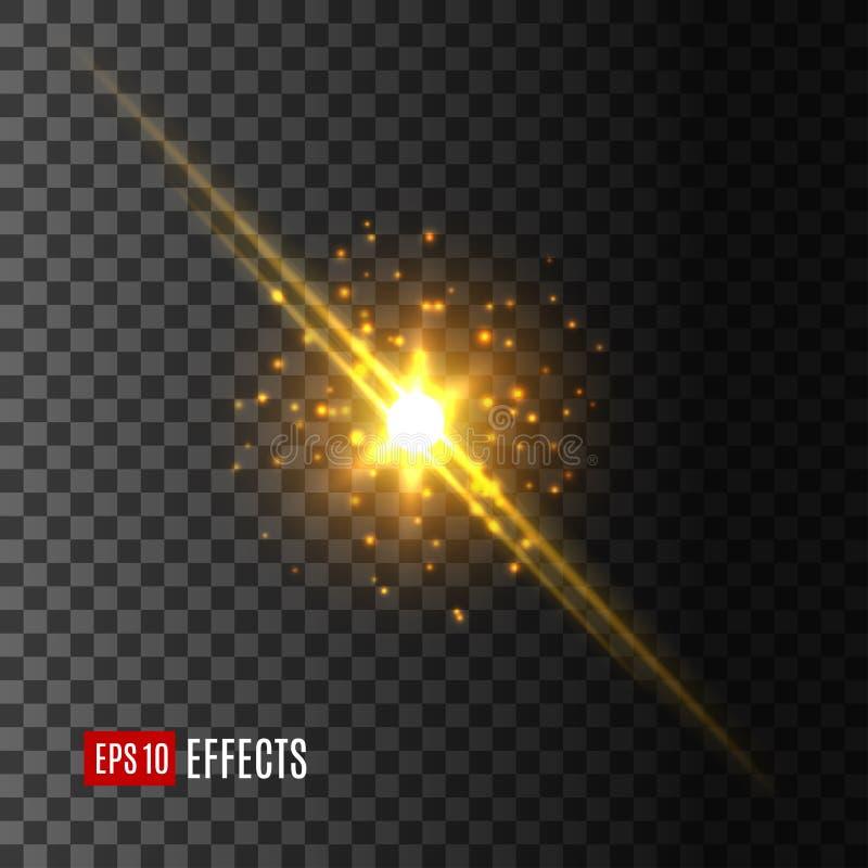Gwiazdowa światło błysku obiektywu racy skutka wektoru ikona royalty ilustracja