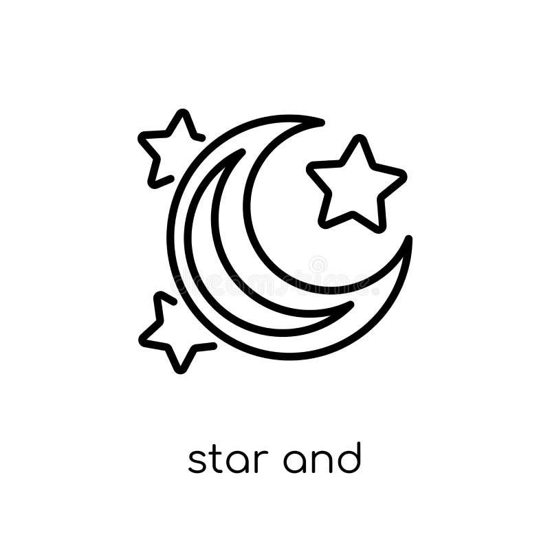 gwiazdowa i półksiężyc księżyc ikona Modny nowożytny płaski liniowy wektoru St royalty ilustracja