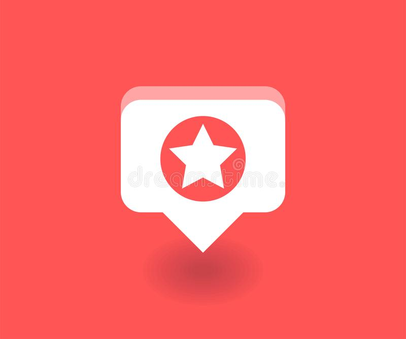 Gwiazdowa ikona, wektorowy symbol w mieszkanie stylu odizolowywającym na czerwonym tle Ogólnospołeczna medialna ilustracja ilustracja wektor