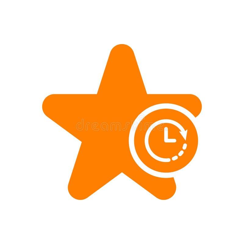 Gwiazdowa ikona, znak ikona z zegaru znakiem Gwiazdowa ikona i odliczanie, ostateczny termin, rozkład, planistyczny symbol ilustracji