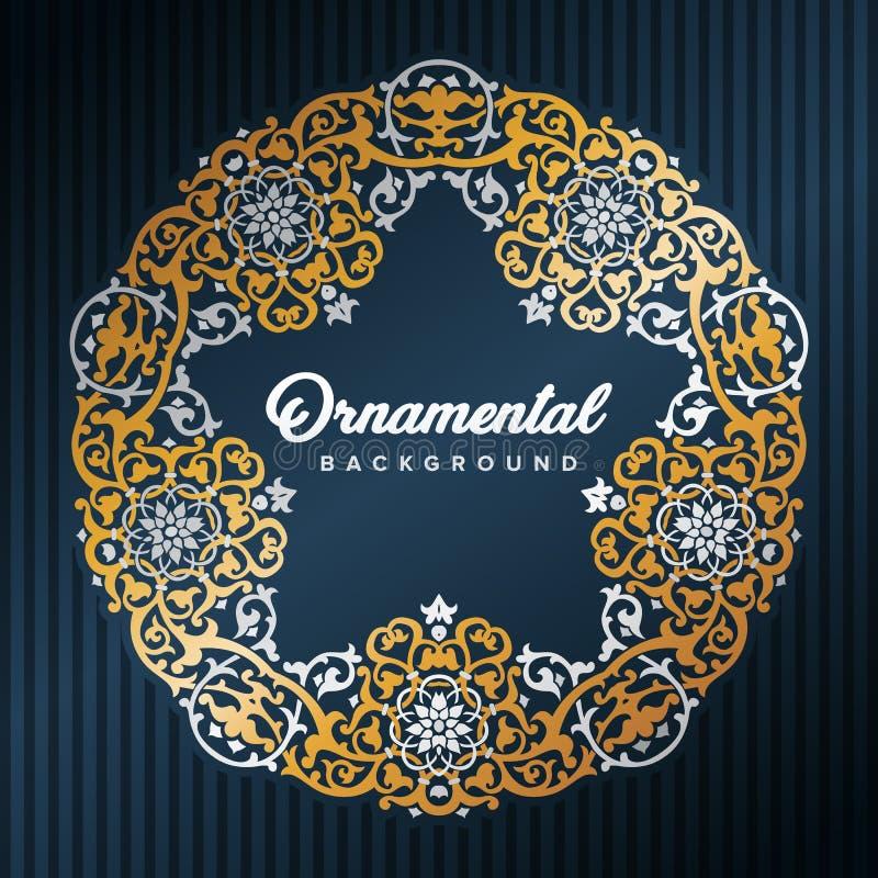 Gwiazdowa język arabski rama Islamski projekt obramiający złotymi wzorami Meczetowy dekoracja element royalty ilustracja
