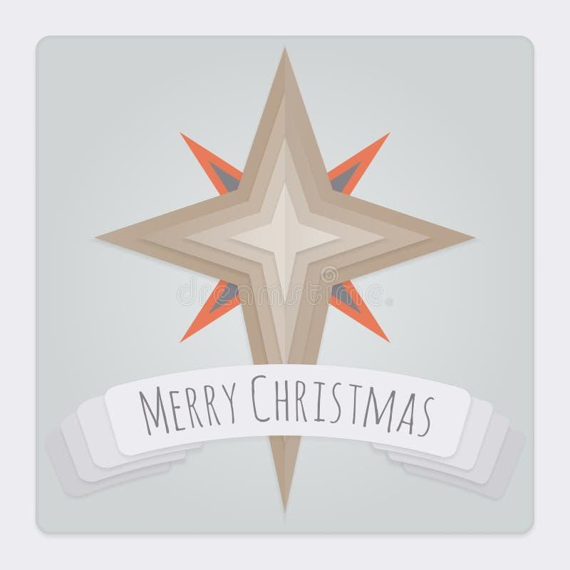 Gwiazdowa kartka bożonarodzeniowa ilustracja wektor