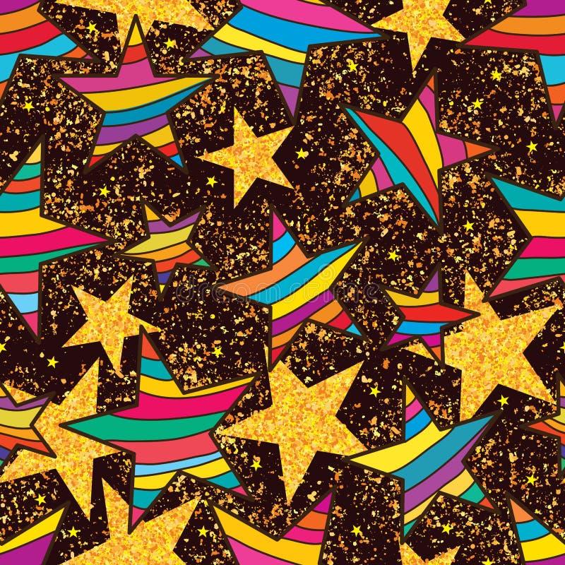 Gwiazdowa kolorowa złota błyskotliwość wokoło bezszwowego wzoru ilustracja wektor