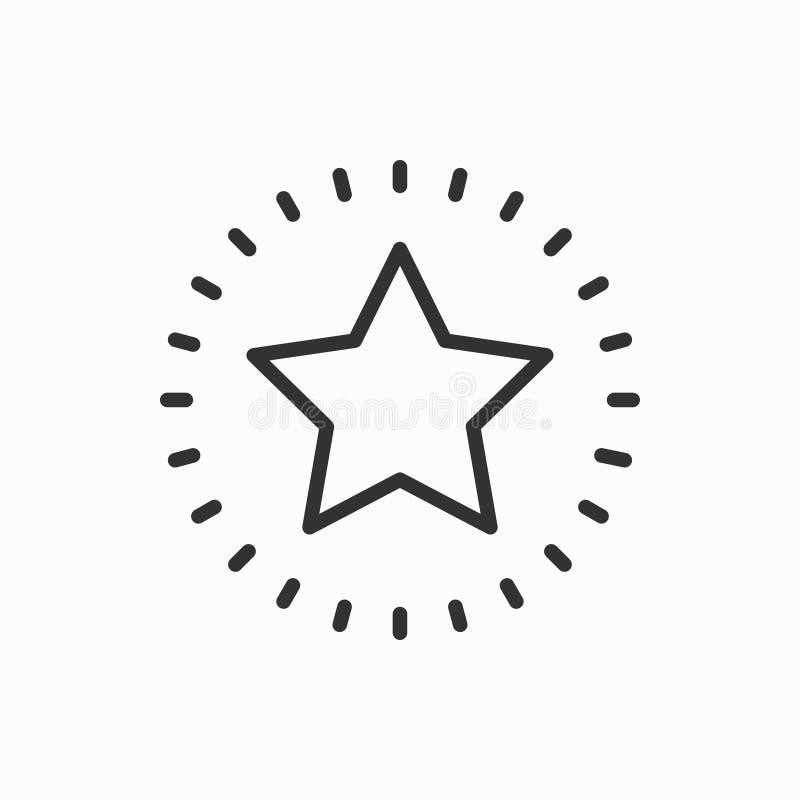 Gwiazdowa kreskowa kontur ikona Najlepszy wybór, faworyta znak, ratingowy symbol Modny odosobniony mieszkanie styl Wektorowy pros royalty ilustracja