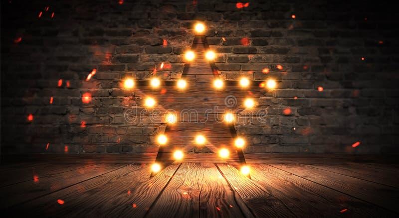 Gwiazdowa lampa na tle stary ściana z cegieł na drewnianej podłoga, zaświeca, światła, światła, świecenie, dym zdjęcia stock