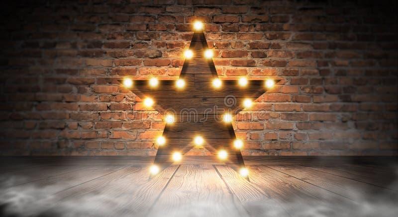 Gwiazdowa lampa na tle stary ściana z cegieł na drewnianej podłoga, zaświeca, światła, światła, świecenie, dym zdjęcia royalty free