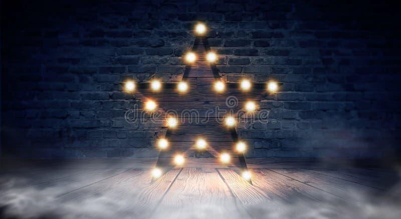 Gwiazdowa lampa na tle stary ściana z cegieł na drewnianej podłoga, zaświeca, światła, światła, świecenie, dym fotografia stock