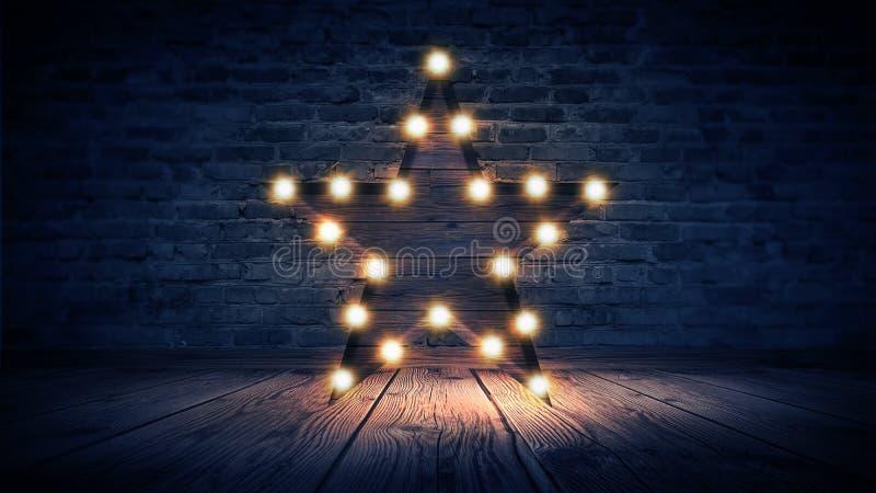 Gwiazdowa lampa na tle stary ściana z cegieł na drewnianej podłoga, zaświeca, światła, światła, świecenie, dym obrazy stock