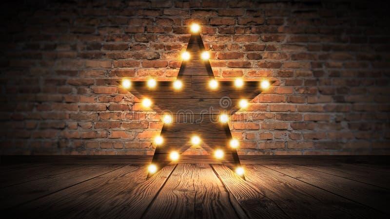 Gwiazdowa lampa na tle stary ściana z cegieł na drewnianej podłoga, zaświeca, światła, światła, świecenie, dym obrazy royalty free