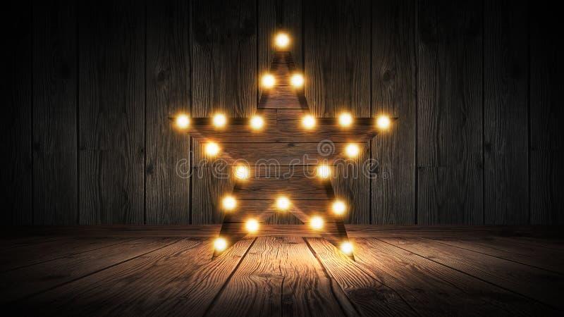 Gwiazdowa lampa na tle stary ściana z cegieł na drewnianej podłoga, zaświeca, światła, światła, świecenie, dym zdjęcie stock