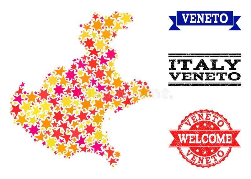 Gwiazdowa mozaiki mapa Veneto pieczątki i region ilustracji