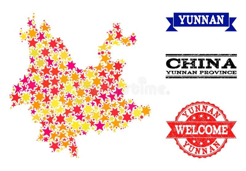 Gwiazdowa mozaiki mapa Yunnan pieczątki i prowincja royalty ilustracja