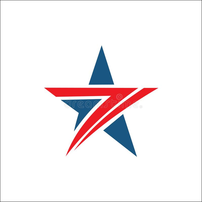 Gwiazdowego logo abstrakcjonistyczna czerwień i błękitny kolor royalty ilustracja