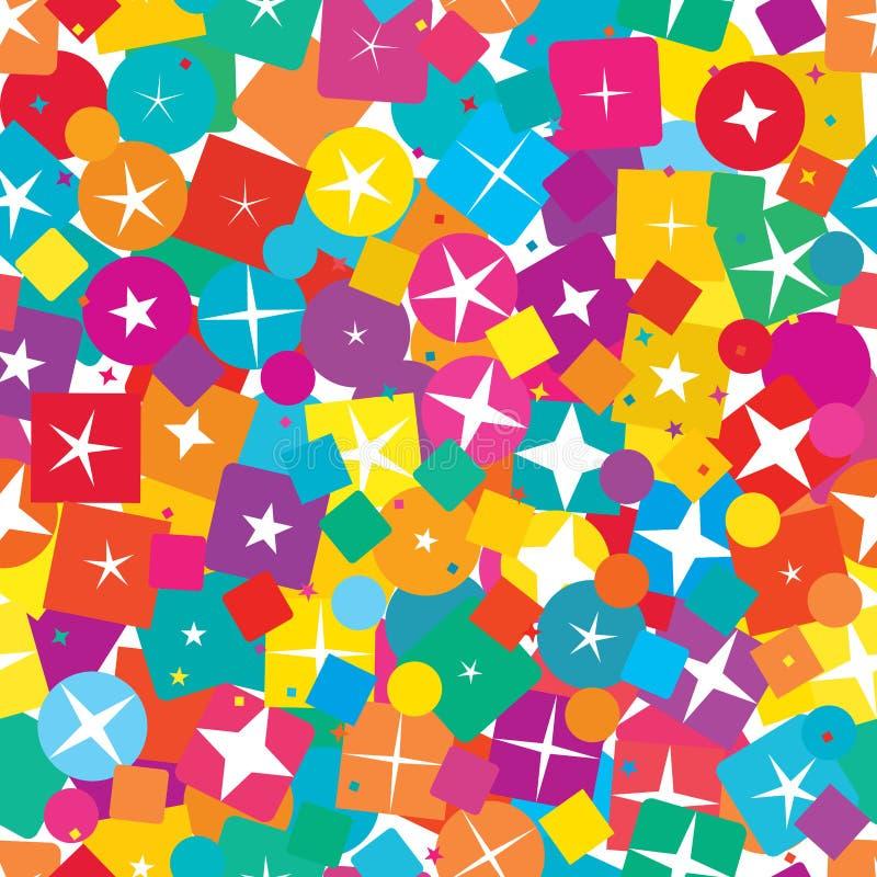 Gwiazdowego okręgu kwadrata diamentowego kształta kolorowy bezszwowy wzór ilustracja wektor