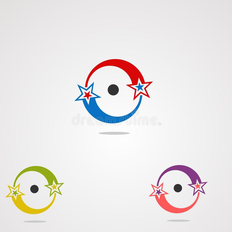 Gwiazdowego okręgu ustalonego logo wektorowy pojęcie, ikona, element i szablon dla biznesu, ilustracja wektor