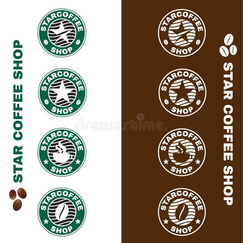 Gwiazdowego sklep z kawą loga okręgu stylu wektoru ustalony projekt ilustracja wektor