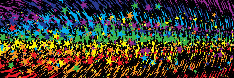 Gwiazdowej tęczy agresywny sztandar ilustracja wektor