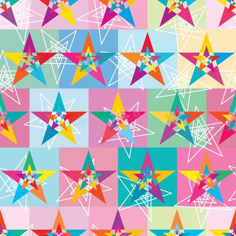 Gwiazdowej warstwy kolorowej symetrii bezszwowy wzór royalty ilustracja