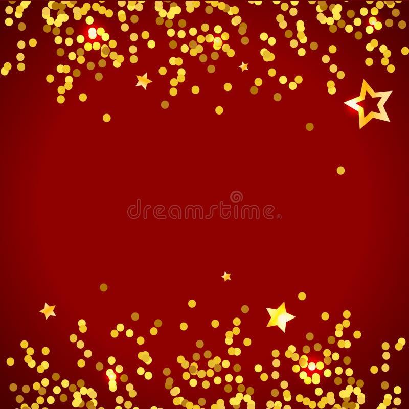 Gwiazdowej Wektorowej kruszcowej złotej tło błyskotliwości dekoraci błyszcząca kiść ilustracja wektor