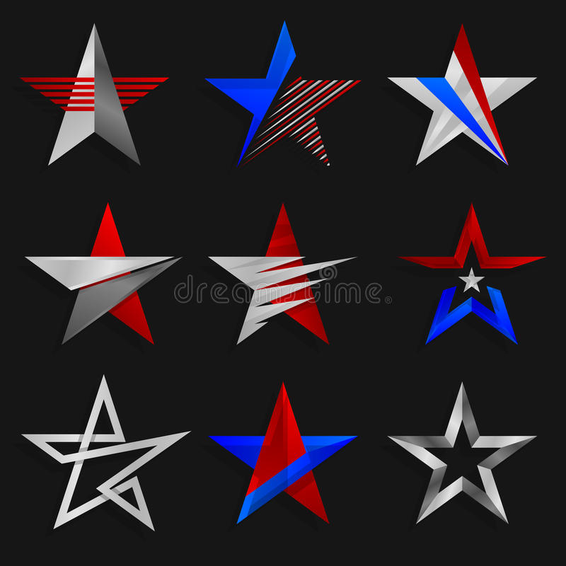 Gwiazdowi abstraktów znaki Logów szablony również zwrócić corel ilustracji wektora royalty ilustracja