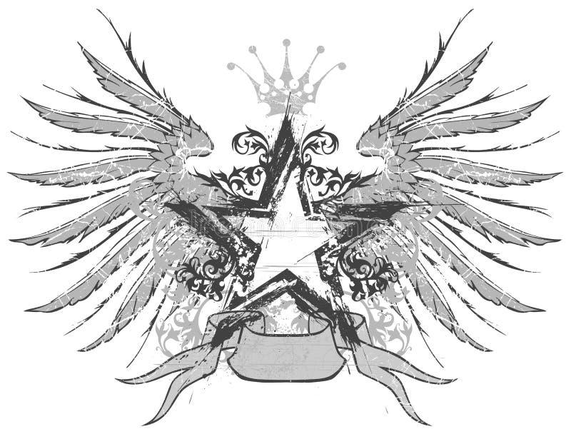 gwiazdowi emblematów skrzydła royalty ilustracja