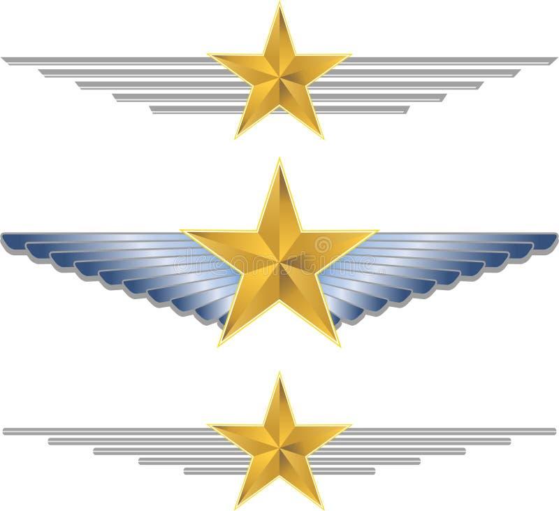 gwiazdowi złoto skrzydła royalty ilustracja