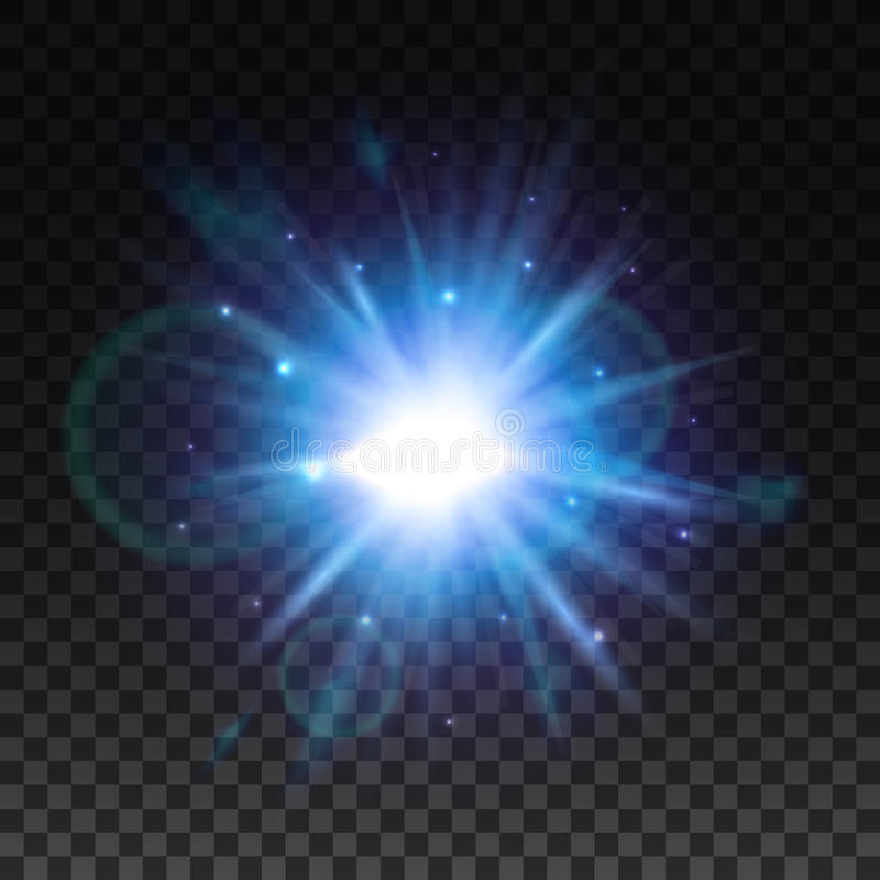 Gwiazdowy światło błysk z obiektywu racy skutkiem royalty ilustracja