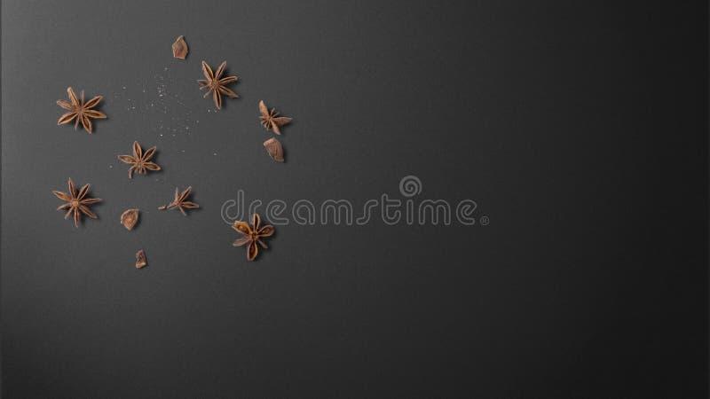 Gwiazdowy anyż na czarnej tło odgórnego widoku zapasu fotografii obraz royalty free