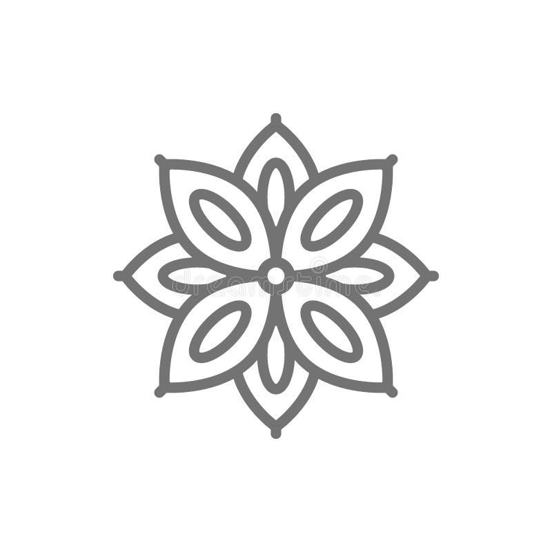 Gwiazdowy anyż, pikantności kreskowa ikona ilustracja wektor
