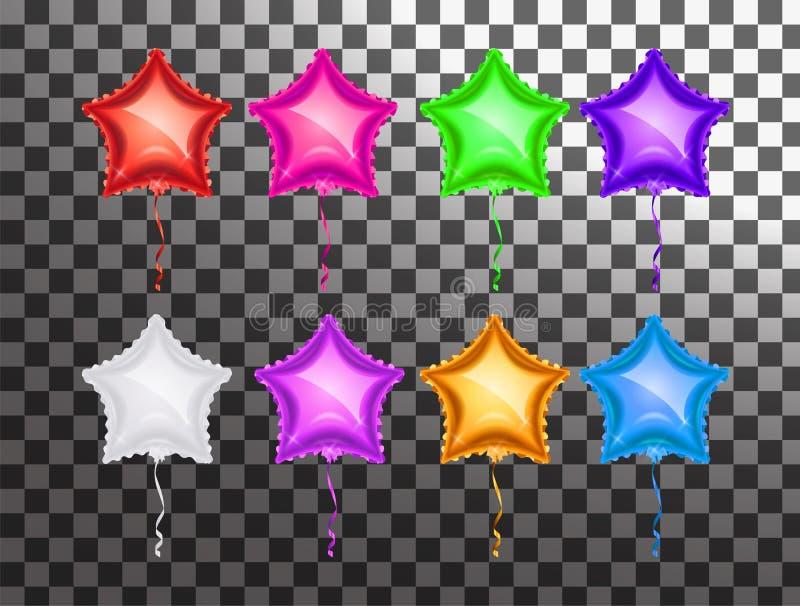 Gwiazdowy balonowy kolorowy set na przejrzystym tle Partyjny ballo ilustracja wektor