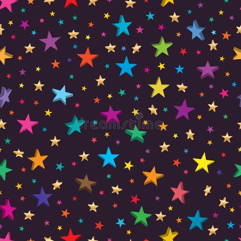 Gwiazdowy 2d 3d bezszwowy wzór ilustracji