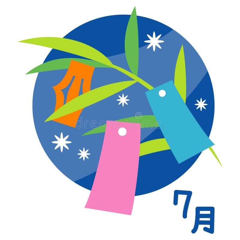 Gwiazdowy festiwal, tradycyjny wydarzenia ` tanabata `, Lipiec w japończyku royalty ilustracja