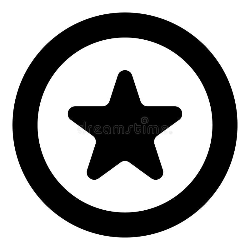 Gwiazdowy ikony czerni kolor w okręgu ilustracji