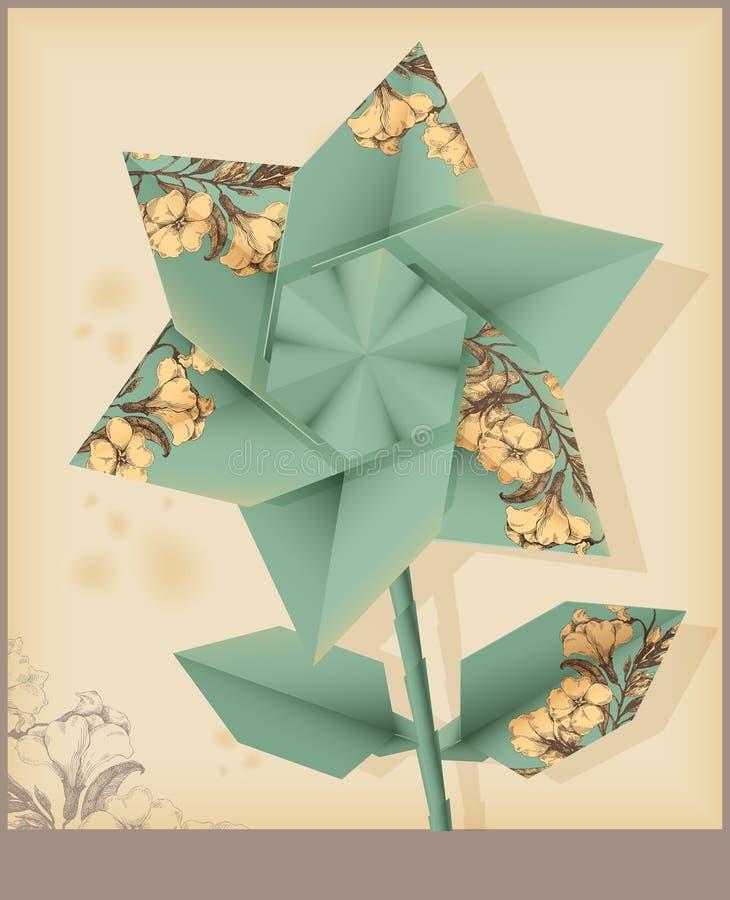 Gwiazdowy kwiat - rocznika dekoracyjny papier ilustracja wektor