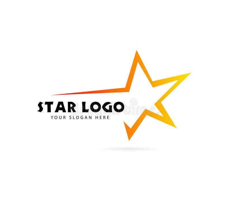 gwiazdowy loga projekta zapas gwiazdowa ikona w gradientu stylu z tekstem ilustracja wektor