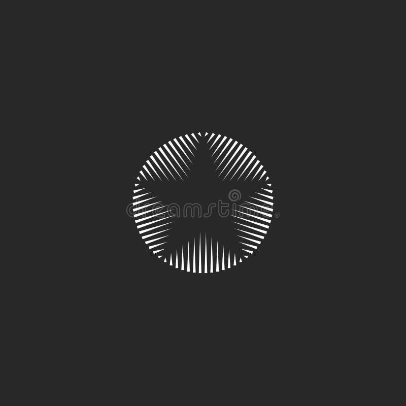 Gwiazdowy logo linia kształta geometryczny monogram, prosty abstrakta promienia grunge projekta elementu szablon, wybujała ikona ilustracja wektor