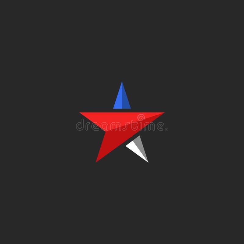 Gwiazdowy logo mockup, usa ikony projekta elementu patriotyczny szablon w fladze amerykańskiej barwi, koszulka krajowy druk royalty ilustracja