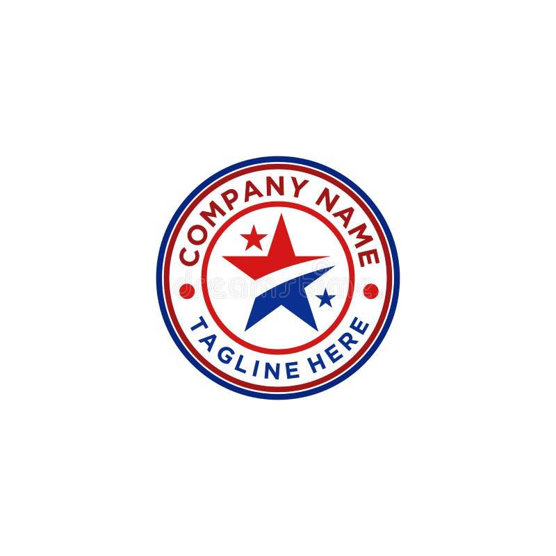 Gwiazdowy logo projekt z czerwonym i błękitnym kolorem royalty ilustracja