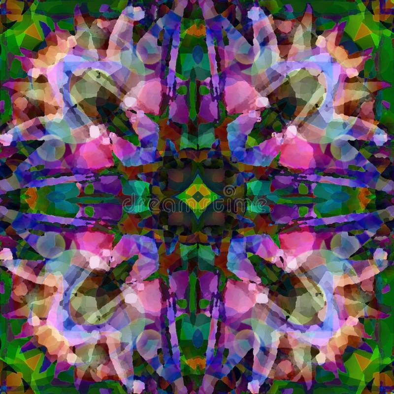 GWIAZDOWY mandala batik W purpurach, błękit, zieleń, menchia, ABSTRAKCJONISTYCZNY projekt ilustracyjny lelui czerwieni stylu rocz ilustracja wektor